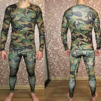 Wholesale tight compression shirts resale online - men s Sportswear Rash guard Long sleeved Shirt Man Jogging Tracksuit suits leggings Compression Running Fitness Tights XL