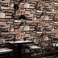 Wholesale chinese restaurant decor for sale - Group buy 3D rubble brick wallpaper Classical home decor Chinese restaurant retro brick culture stone PVC waterproof moisture proof wallpaper