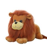 animales del bosque de peluche al por mayor-25 cm Cute Forest Animal Doll Simulation Lion King Fluffy Peluches Suave Relleno Lovely Doll Niños Regalos Niños Brinquedos