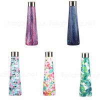 Wholesale cars bottle online - 500ML Flamingo Vacuum Water Bottle floral printed galaxy Pyramid Shaped Double Walled Insulated Travel Coke Outdoor Car Cup AAA1781