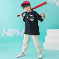 erkek gündelik gömlek giymek toptan satış-Çocuk Hip Hop Giyim Kız Erkek Caz Dans Kostüm Giyim Balo Dans Giyim için Büyük Boy T Shirt Tops Casual Pantolon Koşu