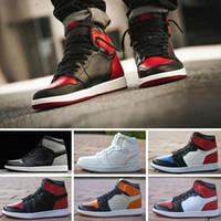 Nike Air Jordan 1 4 6 11 12 13 Alta qualità 2018 Nuovo 1 Alto OG Scarpe da basket Gioco Royal Banned Shadow Bred Red Blue Toe uomini economici 1s