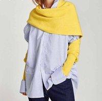 châle de style coréen achat en gros de-2019 Automne Printemps Automne Tricot Écharpes Pour Femmes Plus Châle Coréen De Style Épais Chaud De Mode Accessoires Marée