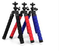 mini-oktopus flexibles kamerastativ großhandel-Flexibles Schwamm-Kraken-Ministativ mit Bluetooth Fernfensterladen für iPhone Minikamerastativ-Telefon-Halterclipstand