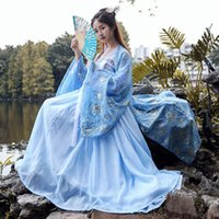 chinesische trachten frauen großhandel-Blau Hanfu Frauen Chinese Traditional Dance Kostüm Oriental Festival Outfit Fairy Dress Folk Bühnenkleidung DF1006