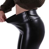 ince bacak pantolonunu gerin toptan satış-S-5XL Artı Boyutu Deri Tayt Kadınlar Yüksek Bel Tayt Streç İnce Siyah Legging Moda PU Deri Pantolon Kadın
