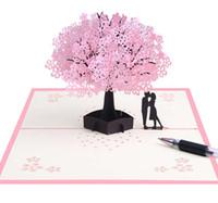 cartões de casamento venda por atacado-Flores de cerejeira 3d Cartão Romântico Flor Pop Up Cartões Cartões de felicitações de casamento Pop Up Cartão Para Valentine \ 'S Day