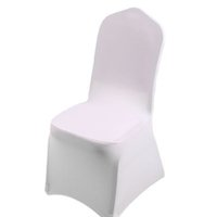 Wholesale white covered party chairs resale online - Christmas Gift White Spandex Wedding Party Chair Covers White Spandex Lycra Chair Cover for Wedding Party Banquet Many Color
