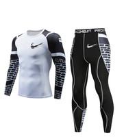 компрессионный бег оптовых-New compression shirt men's 3D printing white T-shirt sports suit quick-drying running suit breathable jogging training gym MMA