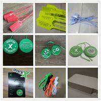 gelbe schnürsenkel großhandel-OW Zip Tie Stock X Kunststoff Rot Gelb Blau Schwarz font QR OG Tag Schuh QR + Sticker + Card OFF Schuhe Verified Authentic Shoelace Box