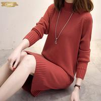 boğaz bayan elbise toptan satış-Örme Uzun Kadın Triko Elbise Bayan Kış Bayan Kız Sonbahar Kış Elbise Kadınlar Kazak Turtleneck Tasarımcı Giyim