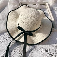 1d205dc2660c47 Summer Handmade Straw Hats For Women Bow Colorful Weaving Sun Hat Wide Brim  UV Protection Beach Caps Lady Casual Sunscreen Cap