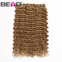 pelo humano de onda profunda 27 al por mayor-Honey Blonde Deep Wave Bundles Paquetes de cabello humano Malasio rizado 3 o 4 Bundle Deals # 27 Color Remy Hair Extension Beyo