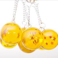 mini pelotas de juguete al por mayor-Dragon Ball Orange y Bule Ball Toys 1 ~ 7 estrellas llavero alrededor de 2.7 CM Super Saiyan Dragon Ball Z Completa juguetes de cadena dominante