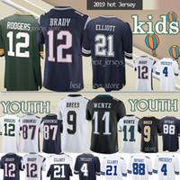camisetas de tom al por mayor-12 Tom Brady de la juventud / jerseys del balompié 12 Aaron Rodgers 21 Ezequiel Elliott 9 Drew Brees 11 Carson Wentz camiseta del niño