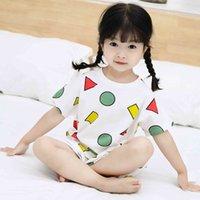 kinder baumwoll-pyjama-anzüge großhandel-Sommer Kinder Pyjama Sets Baumwolle Kurzarm Baby Mädchen Kleidung Anzug Cartoon Nachtwäsche Kinder Pyjama Enfant Jungen Pyjama