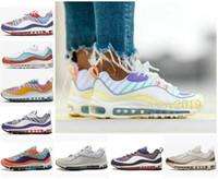 caramelo de oro real al por mayor-2020 Diseñador Gimnasio Rojo 98 para hombre de los zapatos corrientes de la playa del sur de Gundam Apenas 98s caramelo Pascua de oro rosa Walking zapatillas de deporte de las mujeres entrenadores deportivos