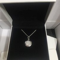 silberne hängende halskette großhandel-Luxus mode klassische cz diamant disc anhänger kette halskette original box für pandora frauen herren 925 silber halskette
