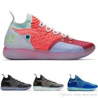 zapatos kd azul al por mayor-nike zoom kd 11 shoes 2019 Chaussures KD XI 11 EP Oreo Ice Blue Sports Tennis Zapatillas de baloncesto para hombre Kevin Durant 11s Zapatillas de deporte de diseñador EE. UU. 40-46