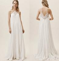 Wholesale pregant dresses resale online - BHLDN Bohemian Wedding Dresses A Line Spaghetti Sweep Train Lace Appliqued Boho Wedding Dress Custom Plus Size Pregant Bridal Gowns
