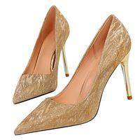 Wholesale silver wedge dress shoes women for sale - Group buy 2020 Women cm cm cm High Heels Stiletto Fetish Sequins Wedding Scarpins Bling Pumps Female Gold Silver Dress Bridal Shoes