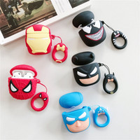 cas de batman de silicone achat en gros de-Super Héros 3D Cartoon pour Apple AirPods Superman Batman Capitaine Amérique Spiderman De Protection Antichoc Silicone Pochette Couverture