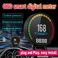 medidor de presión de aceite del coche al por mayor-P15 coche HD TFT OBD Hud velocidad Digital Display OBD2 Velocímetro Medidor de presión del turbo de alarma de temperatura del agua de aceite Gauge lector de código