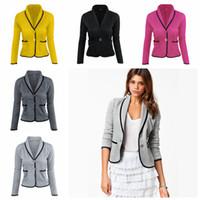Wholesale lapel color grey suit for sale - Group buy Turn Down Collar Women Blazer Colors Quarter Sleeve Button Pockets Jackets Short Suit Slim Patchwork Coat OOA6427
