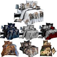 ingrosso fogli di animali 3d-4pcs si è regolato lenzuolo 3d animale Stampe di levigatura Quilt Cover 1 x copripiumino 1 x lamiera piana 2 federe 4 in kit