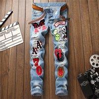 mens yırtık yamalı kot toptan satış-Sıcak Satış Mens Jeans Sıkıntılı Kovboy Ünlü Destroyed Yıkanmış Patches bağbozumu Düz İnce Jeans Ripped