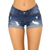bermudas plus size mulheres venda por atacado-Sexy Buraco Bermuda Shorts Jeans Mulheres 2019 Verão Curto Calça Jeans Feminino Magro Plus Size Casual Cintura Alta Push Up Shorts Hotpants Y19050905