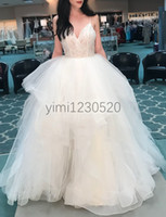 Wholesale puffy wedding dress model for sale - Group buy Princess Puffy Wedding Dresses Spaghetti Backless Sweep Train Lace Garden Country Beach Bridal Gowns vestidos de novia Plus Size
