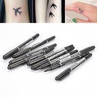 ingrosso forniture di strumenti piercing-1pz nero pennarello a doppia punta per la pelle del tatuaggio penna penetrante strumenti per il posizionamento del corpo marcatura tatuaggio accessori per trucco permanente forniture