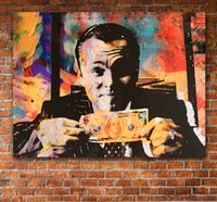 afrikanische handmalerei groihandel-HD-Leinwand-Druck Haus-Wand-Dekor-Kunst-Malerei Wolf Of Wall Street Money Talk Abstrakt ungerahmt Leinwand Kunst Invincible