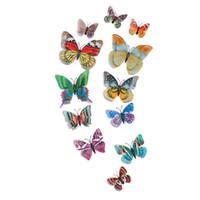 dekorative wandkunst schmetterlinge großhandel-12 stücke künstliche vivid 3d diy hause ornament magnetische schmetterling dekorative wandkunst fliegende leuchtende doppelschicht pvc