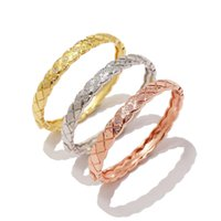 Wholesale crystal bracelets designs resale online - Design Zircon Rose Gold plated crystal rhinestone pave stainless steel love charm Bracelets Bangle CC bangle For Women fashion jewelry