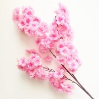 flor artificial decoracion arbol al por mayor-6ps Fake Cherry Blossom Flower Branch Begonia Sakura Tallo de árbol para evento Wedding Tree Decor Artificial Decorativo Fake Flowers