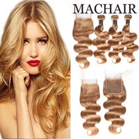 Wholesale siyusi for sale - Group buy Siyusi Straight Hair with Closure Extension Brazilian Honey Blonde Bundles With Closure Color Human Hair Brazilian Closure With Bundle