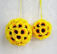 centros de bolas de flores grandes al por mayor-Artificial Girasol Bola Realista Fake Big Flower Ball para DIY Boda Centros de Mesa Arreglos Fiesta de Baby Shower Inicio Amarillo Deco
