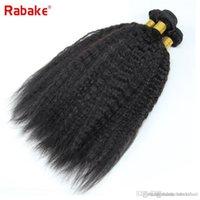 12 cabelos lisos malaysianos venda por atacado-Natural Preto Kinky Em Linha Reta Cabelo Humano Pacotes Grau Rabake Grau Malaio Extensões de Cabelo Humano Virgem Ondulado Tecer Bundle Transporte Rápido