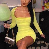 mini-mantel kleid transparent großhandel-Strapless Sexy Transparent Kleid Frauen Langarm Bodycon Plissee Etuikleid Fest Durchsichtig Minipartei-Kleid