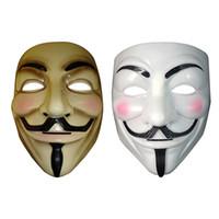 ingrosso costume maschera vendetta-Maschera Vendetta maschera anonima di Guy Fawkes Halloween costume in costume bianco giallo 2 colori MMA2469