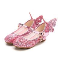 синие блёстки с блестками оптовых-Девушки на высоких каблуках обувь Мода Дети пришивания принцессы обувь Крыло бабочки Свадьба Девушки танец обуви золото розовый синий серебро