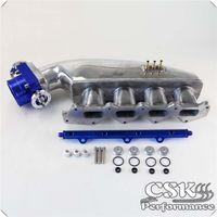 ingestão corporal venda por atacado-Intake Manifold Fuel Rail 80 milímetros Throttle Body Ajustes para Mitsubishi EVO 1 2 3 4G63