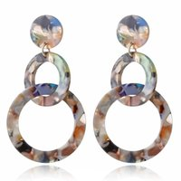 Wholesale resin hoops resale online - 4pair Fashion Colorful Leopard Acrylic Dangle Earring Round Geometry Resin Statement Hanging Earrings Woman Party Wedding Jewelry R