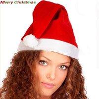 yetişkin yenilik setleri toptan satış-12 Adet / Seti Yetişkin Unisex Noel Kırmızı Ultra Yumuşak Sıcak Peluş Noel Cosplay Şapka Santa Yenilik Şapka Noel Partisi Chapeau Cap BH2440 CY Caps