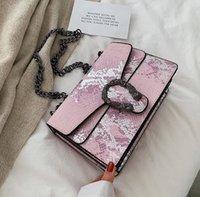 bolso de color serpiente al por mayor-Bolso de mujer al por mayor de fábrica nuevo bolso de cadena de serpiente bolso de mensajero de cuero de contraste de color bolso de hombro de cuero de serpiente de moda