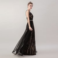 or pakistanais achat en gros de-2019 noir sexy robes de soirée pas cher élégantes sirène paillettes long dos nu formelle partie de bal d'usure 5265 Maxi robe avec overskirt détachable