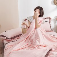 Wholesale blue ruffle bedding for sale - Group buy Korean ruffles quilts sets home bedding washed cotton comfoter set scallop summer bed linen solid falbala throw blanket pc