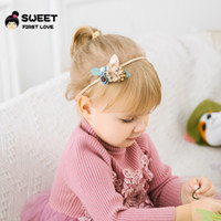 Wholesale blue flowers for headbands for sale - 2019 New Ins Baby Hair Accessories Princess Flower Headband for Birthday party Nylon Boutique Quality